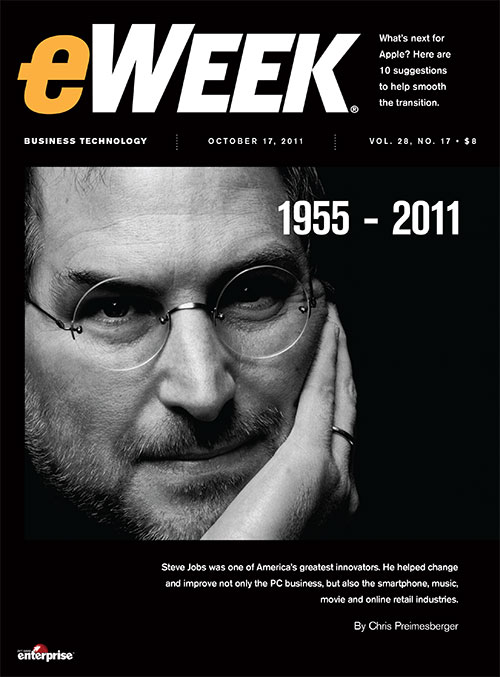 eWEEK Magazine cover October 2011 featuring Steve Jobs.